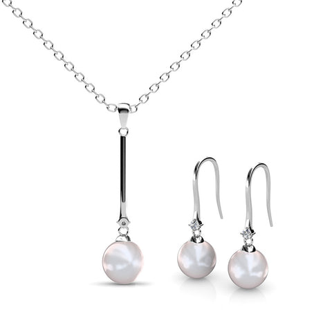 Pearl Long Pendant Certified Elements 18k White Gold Plated