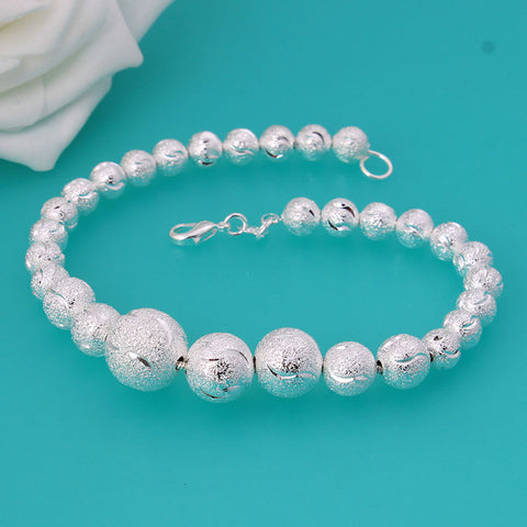 925 Sterling Silver Bracelet Bangle Stamped Frosted Bead
