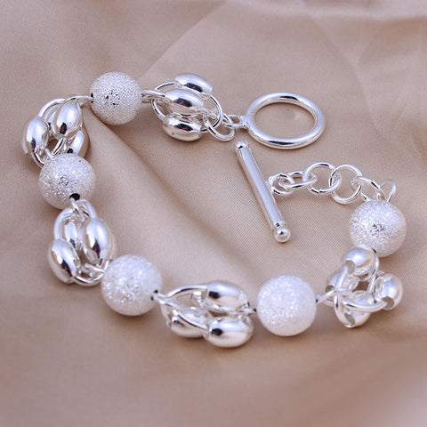 925 Sterling Silver Round Frosted Bead Bracelet