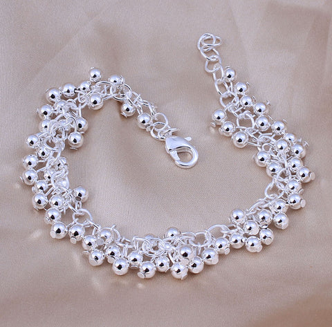 Beaded Charm 925 Sterling Silver Stamped Bracelet