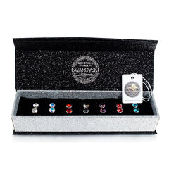 Exquisite Stud Earring Set 7 Pairs Certified Swarovski Crystal 18K White Gold Plate