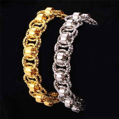 18k Stamped Gold or Platinum Plated Two Row Round Link Bracelet