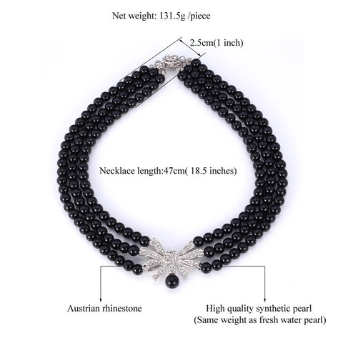 Elegant Black Pearl Choker Necklace With Platinum Clasp & Austrian Rhinestone