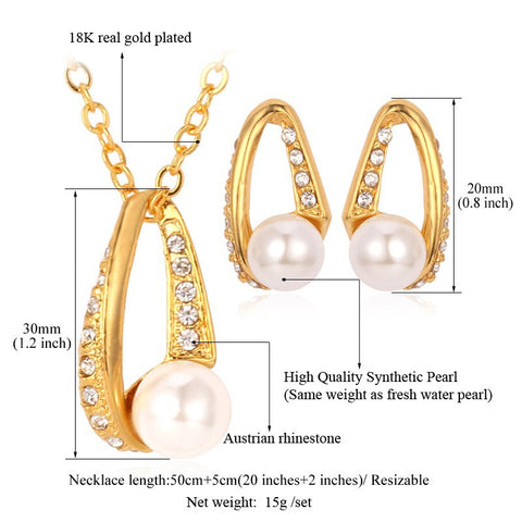 Pearl and Swarovski Crystal Inlayed Jewellery Set 18k Stamped White or Gold Plated