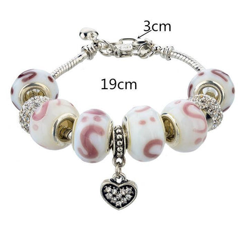.925 Sterling Silver Plated MURANO GLASS Swarovski Crystal Charm Bracelet Bangle Pandora Inspired