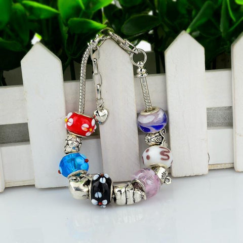 .925 Sterling Silver Plated Inspired MURANO GLASS Charm Bracelet