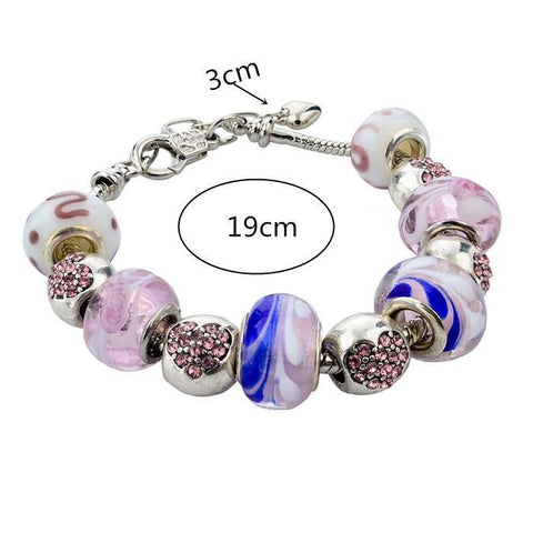 Silver MURANO GLASS Inlayed With Swarovski Crystal Pandora Inspired Charm Bracelet Bangle