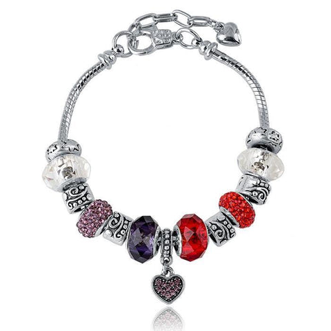 Silver Plated Pandora Inspired MURANO GLASS Charm Bracelet With Swarovski Crystal