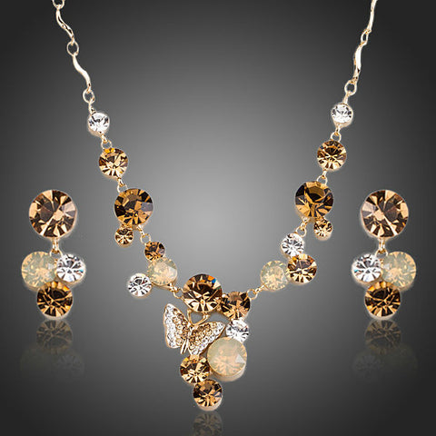 18K Gold Plated Butterfly Austrian Crystal Pendant Necklace Earring Set