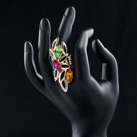 18K Gold Plated Multicolour Stellux Austrian Crystal Water Drop Ring