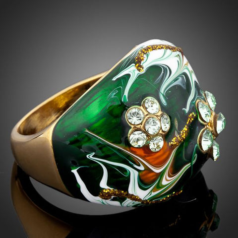 18K Gold Plated Crystal Oil Painted Designed Ring Sizes 6 7 8 9