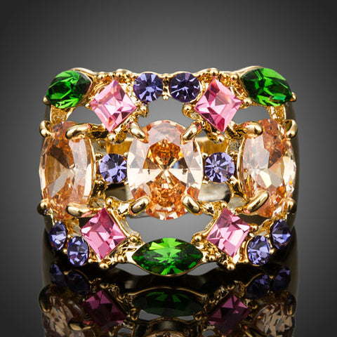 18K Gold Plated Multicolour Swiss Cubic Zirconia Ring 6 7 8 9 Online Store Now
