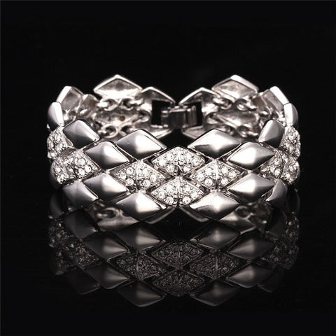 18k Gold or Platinum Plated Link Bracelet Chunky Geometric Design