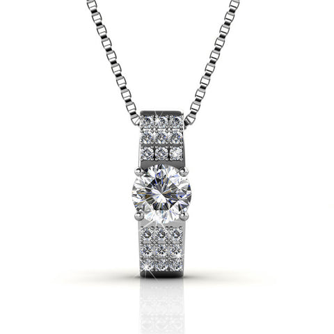Luxurious Certified Swarovski Element Pendant Necklace 18K White Gold Plating