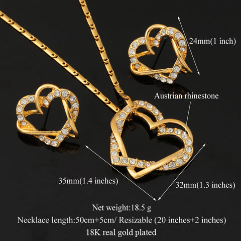 18k Gold Plated AAA Quality Necklace and Earring Set with Austrian Crystal - Gift Idea