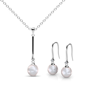 Pearl Long Pendant Certified Elements 18k White Gold Plated - The Fashion Depot