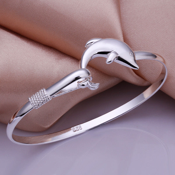 Dolphin Bangle  - .925 Sterling Silver Stamped With Bezel Setting Crystal - The Fashion Depot