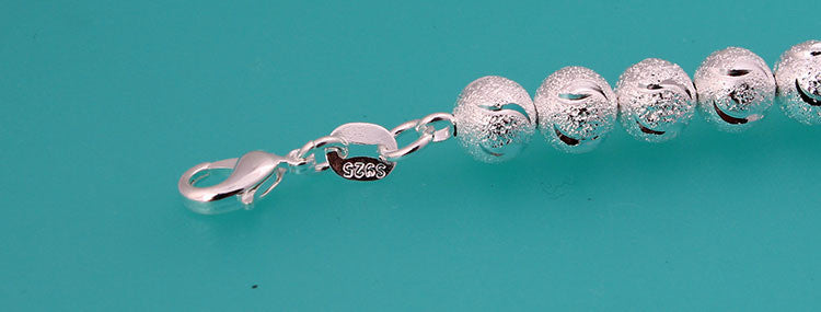 925 Sterling Silver Bracelet Bangle Stamped Frosted Bead - The Fashion Depot