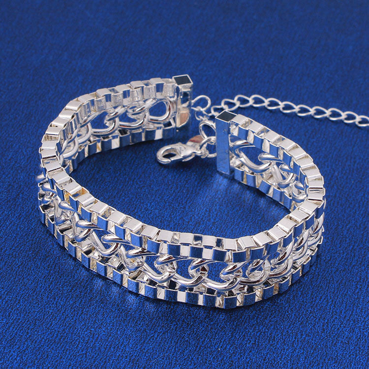 .925 Sterling Silver Bracelet Bangle Twisted Link Cuff Style - The Fashion Depot