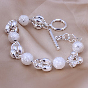 925 Sterling Silver Round Frosted Bead Bracelet - The Fashion Depot