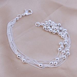 Fine 6 Strand 925 Sterling Silver Plated Stamped Bracelet - The Fashion Depot