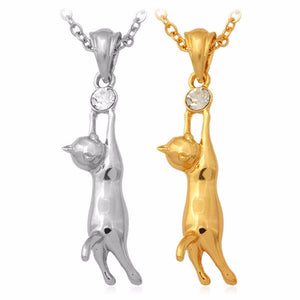 Cute Cat Necklace in Gold or White inset with Austrian Rhinestone - The Fashion Depot