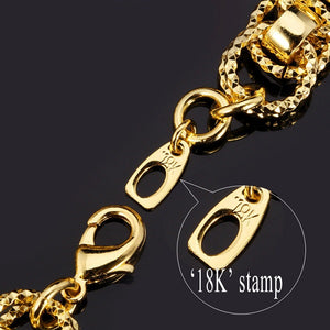 18k Stamped Gold or Platinum Plated Two Row Round Link Bracelet - The Fashion Depot