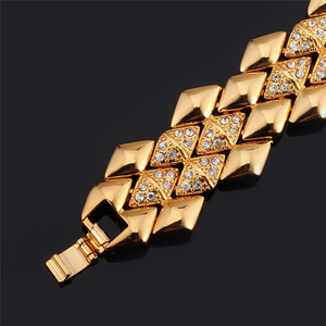 18k Gold or Platinum Plated Link Bracelet Chunky Geometric Design - The Fashion Depot