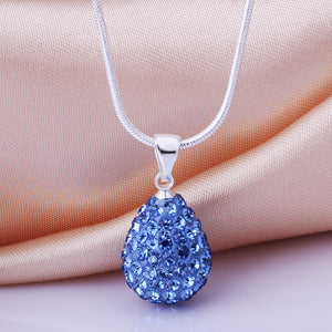 925 Sterling Silver Shambala Style Swarovksi Crystal Waterdrop Pendant Necklace - The Fashion Depot