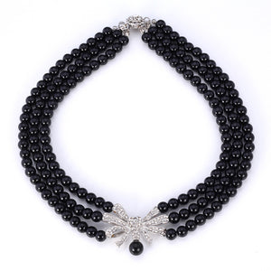 Elegant Black Pearl Choker Necklace With Platinum Clasp & Austrian Rhinestone - The Fashion Depot