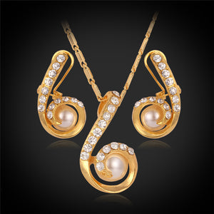 White Pearl Austrian Crystal 18k Gold Stamped Necklace and Earring Set - The Fashion Depot