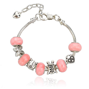 Pandora Inspired Chamilia Bracelet .925 Sterling Silver Bracelet MURANO Glass - The Fashion Depot