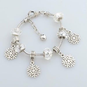 .925 Sterling Silver Plated Pandora Inspired MURANO GLASS Charm Bracelet Snowflake Charms - The Fashion Depot