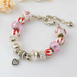 .925 Silver Plated MURANO GLASS Charm Bracelet Swarovski Pandora Inspired - The Fashion Depot