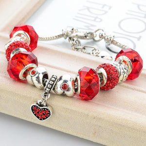 Pandora Inspired .925 Sterling Silver Plated MURANO GLASS Charm Bracelet Bangle - The Fashion Depot
