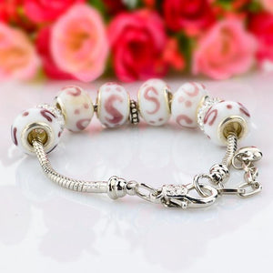 .925 Sterling Silver Plated MURANO GLASS Swarovski Crystal Charm Bracelet Bangle Pandora Inspired - The Fashion Depot