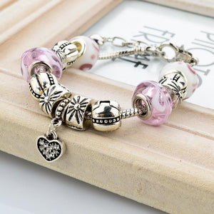 Pandora Inspired .925 Silver Plated MURANO GLASS Charm Bracelet & Swarovski - The Fashion Depot