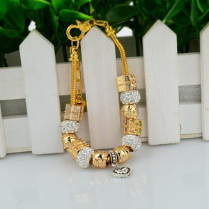18K Gold Plated Pandora Inspired Charm Bracelet Murano Glass - The Fashion Depot