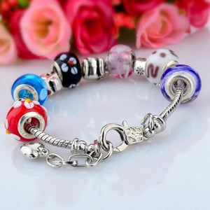 .925 Sterling Silver Plated Inspired MURANO GLASS Charm Bracelet - The Fashion Depot