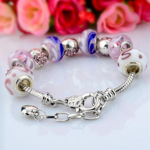 .925 Silver MURANO GLASS Inlayed With Swarovski Crystal Pandora Inspired Charm Bracelet Bangle - The Fashion Depot