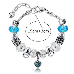 .925 Sterling Silver Plated Pandora Inspired MURANO GLASS Charm Bracelet Swarovski Crystals - The Fashion Depot