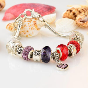 .925 Silver Plated Pandora Inspired MURANO GLASS Charm Bracelet With Swarovski Crystal - The Fashion Depot