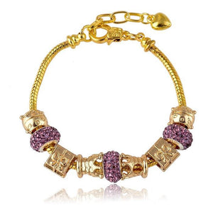 18K Gold Plated Pandora Inspired Charm Bracelet - The Fashion Depot