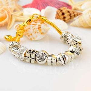 Pandora Inspired .925 Sterling Silver & 18K Gold Plated Charm Bracelet With Swarovski Crystal - The Fashion Depot