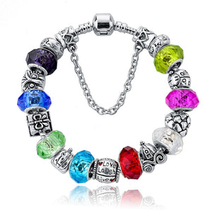 .925 Sterling Silver Plated Pandora Inspired MURANO GLASS Charm Bracelet Bangle - The Fashion Depot