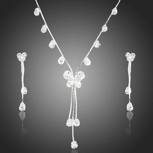 White Gold Plated Butterfly Drop Earring and Necklace Jewellery Set - The Fashion Depot