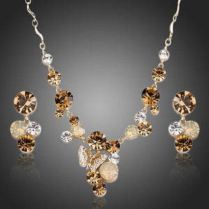 18K Gold Plated Butterfly Austrian Crystal Pendant Necklace Earring Set - The Fashion Depot