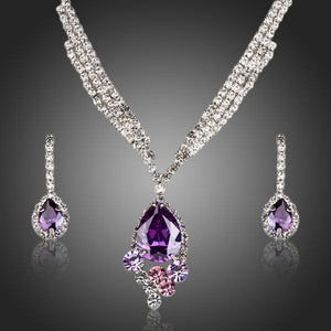 Rhodium Plated Cubic Zirconia Water Drop Pendant Necklace and Earring Jewellery Set - The Fashion Depot