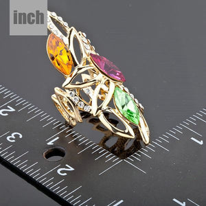 18K Gold Plated Multicolour Stellux Austrian Crystal Water Drop Ring - The Fashion Depot