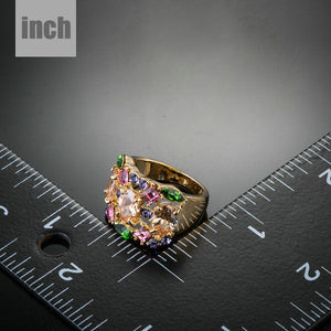 18K Gold Plated Multicolour Swiss Cubic Zirconia Ring 6 7 8 9 Online Store Now - The Fashion Depot